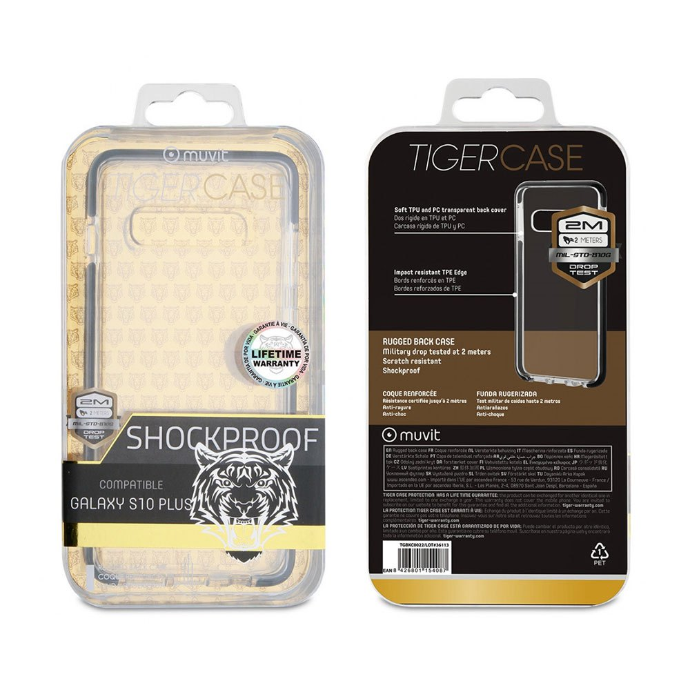 Muvit-tiger Soft Case Shockproof 2m Samsung Galaxy S10 Plus One Size Clear